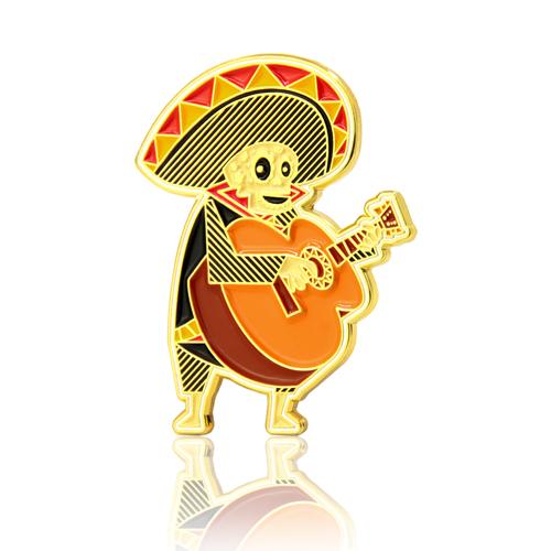 Guitarist Skull Enamel Pins