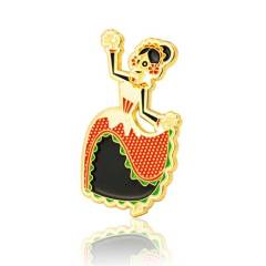Calavera Dancer Skull Enamel Pins