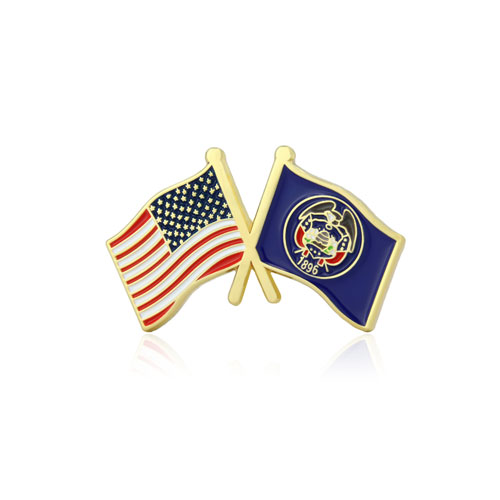 Utah and USA Crossed Flag Pins