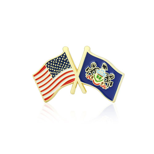 Pennsylvania and USA Crossed Flag Pins