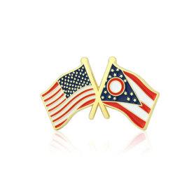 Ohio and USA Crossed Flag Pins