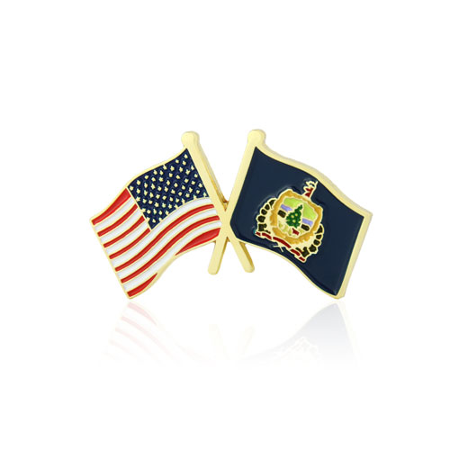 Vermont and USA Crossed Flag Pins