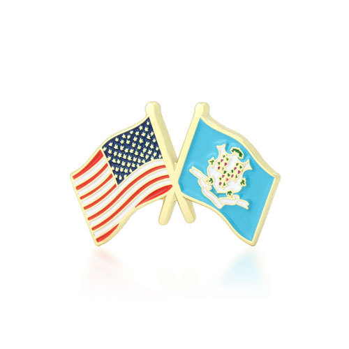 Connecticut and USA Crossed Flag Pins