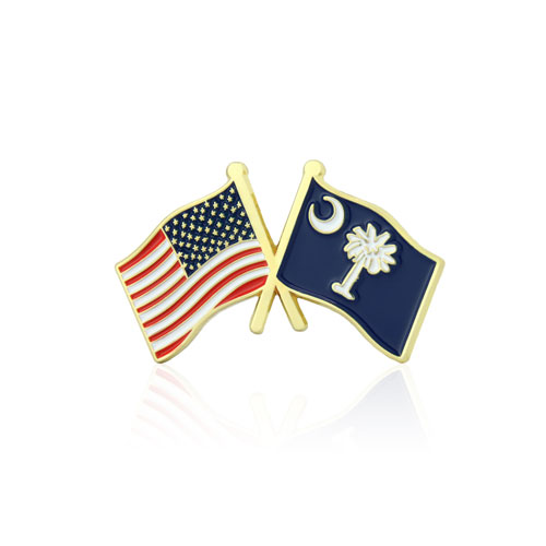 South Carolina and USA Crossed Flag Pins