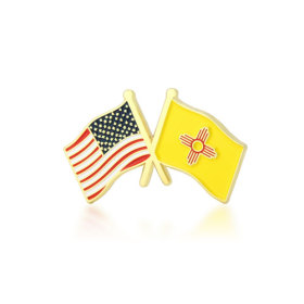 New Mexico and USA Crossed Flag Pins