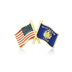 Wisconsin and USA Crossed Flag Pins
