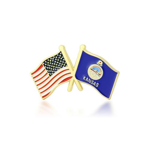 Kansas and USA Crossed Flag Pins