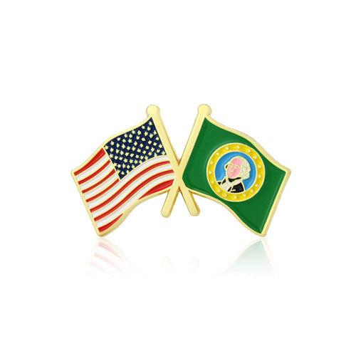 Washington and USA Crossed Flag Pins