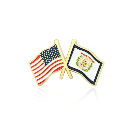 West Virginia and USA Crossed Flag Pins