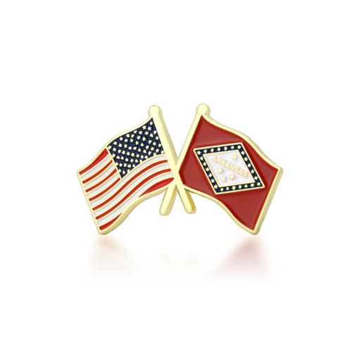Arkansas and USA Crossed Flag Pins