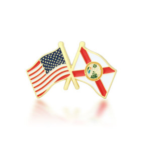 Florida and USA Crossed Flag Pins
