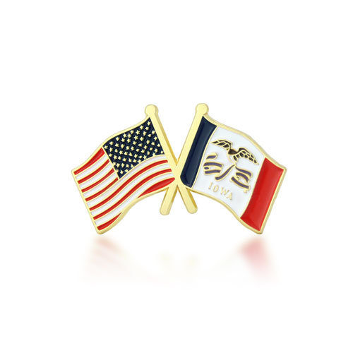 Iowa and USA Crossed Flag Pins