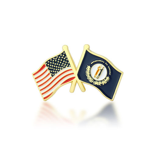 Kentucky and USA Crossed Flag Pins