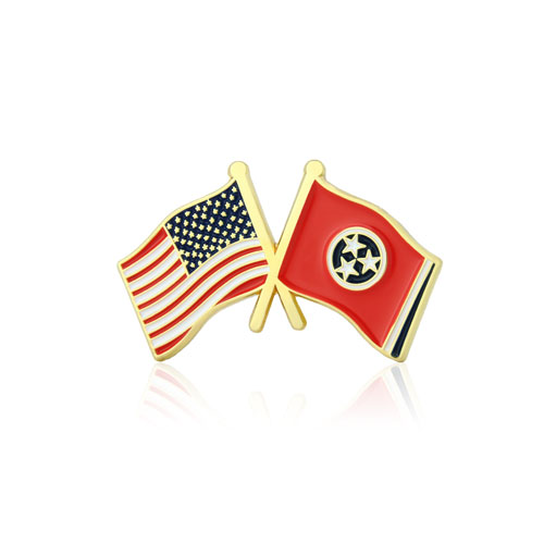 Tennessee and USA Crossed Flag Pins