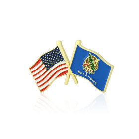 Oklahoma and USA Crossed Flag Pins