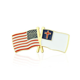 USA and Christian Crossed Flag Pins