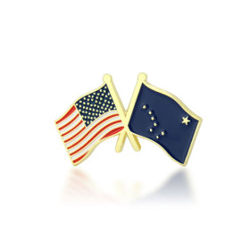 Alaska and USA Crossed Flag Pins