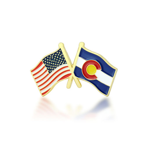 Colorado and USA Crossed Flag Pins