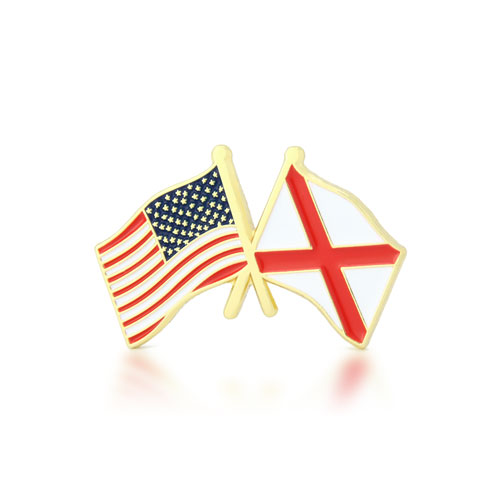 Alabama and USA Crossed Flag Pins