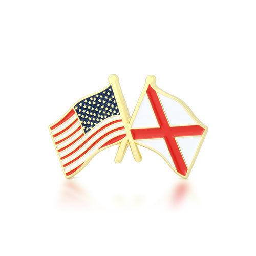Alabama and USA Crossed Flag Pins