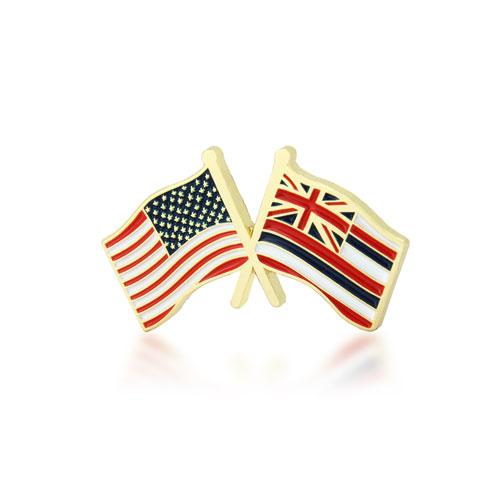 Hawaii and USA Crossed Flag Pins