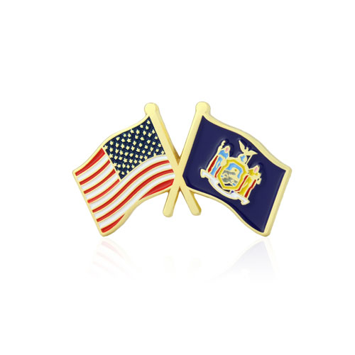 New York and USA Crossed Flag Pins