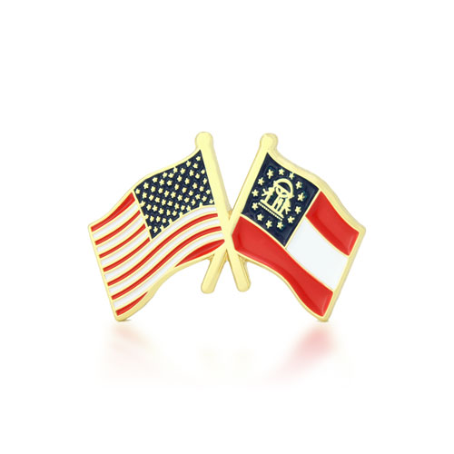 Georgia and USA Crossed Flag Pins