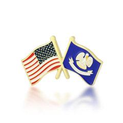 Louisiana and USA Crossed Flag Pins