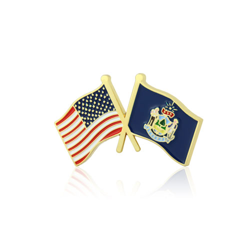 Maine and USA Crossed Flag Pins