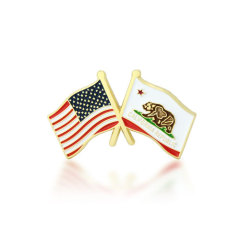 California and USA Crossed Flag Pins