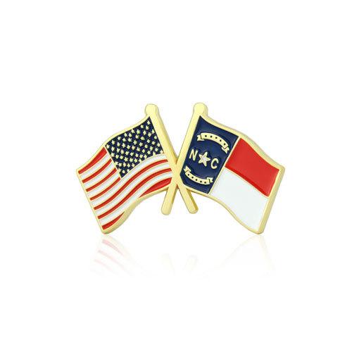 North Carolina and USA Crossed Flag Pins