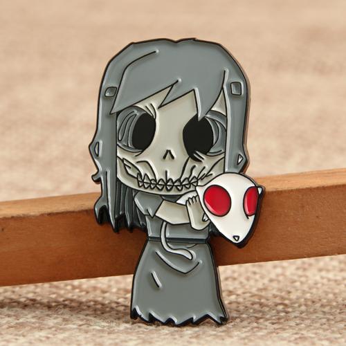 Skeleton Girl Custom Enamel Pins