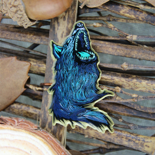 Custom Blue wolf Pins