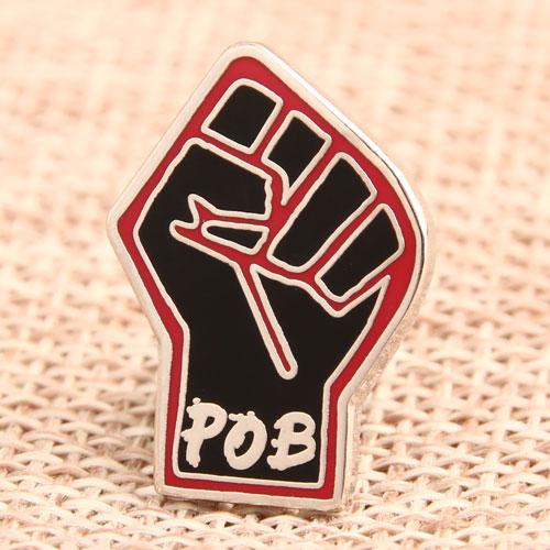 Custom POB Fist Enamel Pins