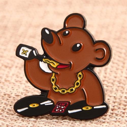 Custom DJ Bear Enamel Pins