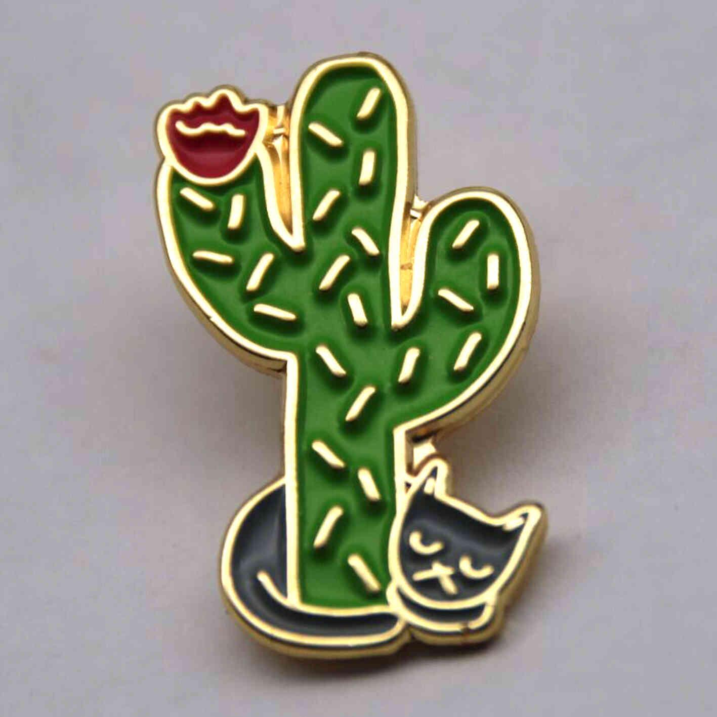 Cacti and Cat Enamel Pins