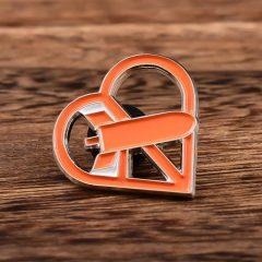 Orange Heart Cut-out Pins