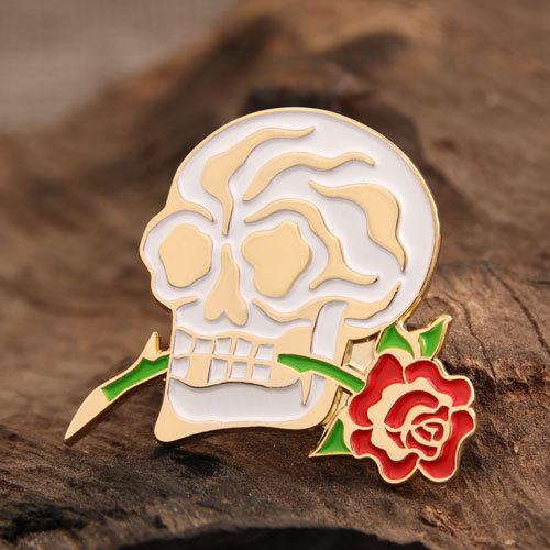 Skull and Flower Enamel Pins